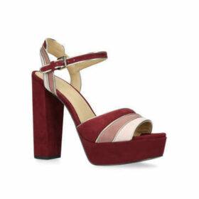 Michael Michael Kors Harper Platform - Burgundy Suede Platform Heeled Sandals