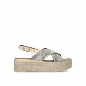 Carvela Comfort Snakey - Metallic Snake Print Flatform Sandals