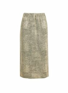 Womens Gold Shimmer Tie Front Midi Skirt, Gold