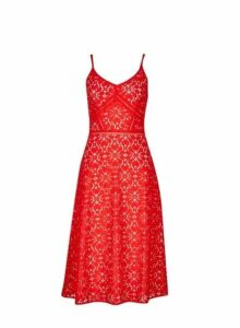 Womens Luxe Red Camisole Lace Dress, Red