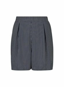 Womens Tall Grey Striped Tie Waist Shorts, Grey