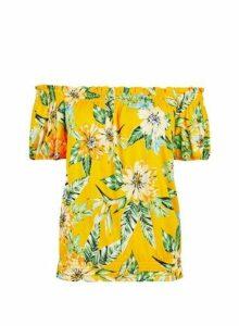 Womens Yellow Tropical Print Bardot Top, Yellow