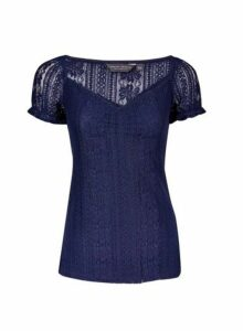 Womens Tall Navy Lace Milkmaid Top - Blue, Blue