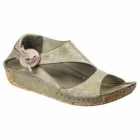 Riva  Arlo Leather Womens Low Wedge Sandal  women's Sandals in Green