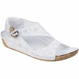 Riva  Arlo Leather Womens Low Wedge Sandal  women's Sandals in White