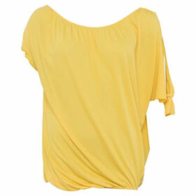 French Connection  Asymmetrical Tunic Crew Neck Short Sleeves  women's Blouse in Yellow