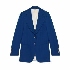 Wool-silk jacket with print