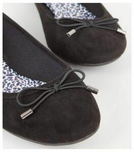 Black Suedette Leopard Print Insole Ballet Pumps New Look Vegan