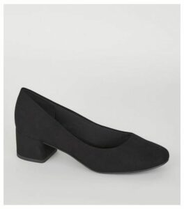 Black Suedette Low Block Heel Court Shoes New Look Vegan