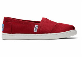 Red Canvas TOMS Youth Classics 2.0 Slip-On Shoes - Size UK11