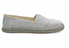 TOMS Drizzle Grey Slub Chambray Women's Espadrilles Shoes - Size UK7