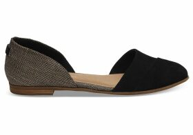 TOMS Black Suede Metallic Woven Women's Jutti D'orsay Flats Shoes - Size UK7