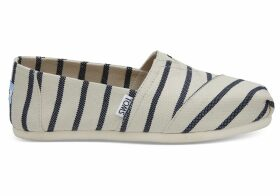 TOMS White Navy Riviera Stripe Women's Classics Venice Collection Slip-On Shoes - Size UK8