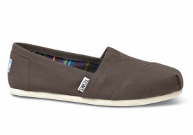 TOMS Grey Canvas Women's Classics Slip-On Shoes - Size UK5.5