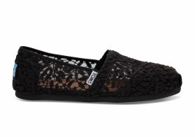 TOMS Black Lace Leaves Women's Classics Slip-On Shoes - Size UK3