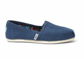 TOMS Navy Canvas Women's Classics Slip-On Shoes - Size UK4