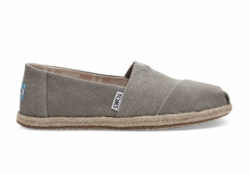 TOMS Drizzle Grey Washed Canvas Women's Espadrilles Shoes - Size UK3.5