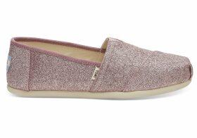 TOMS Rose Glow Iridescent Glitter Women's Classics Slip-On Shoes - Size UK4.5