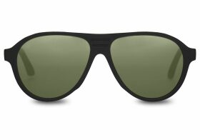 TOMS Traveler Zion Matte Black Polarized Green Lens Sunglasses with Glass Bottle Green Polarized Lens