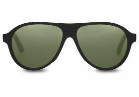 TOMS Traveler Zion Matte Black Polarized Green Lens Sunglasses with Glass Bottle Green Polarized Lens