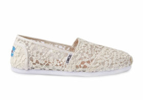 TOMS White Lace Leaves Women's Classics Slip-On Shoes - Size UK8