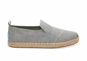 TOMS Drizzle Grey Slub Chambray Women'S Deconstructed Alpargatas Shoes - Size UK6