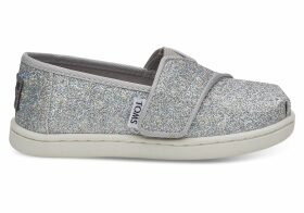 Silver Iridescent Glimmer Tiny TOMS Classics Slip-On Shoes - Size UK6