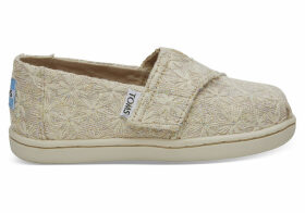 Natural Daisy Metallic Tiny TOMS Classics Slip-On Shoes - Size UK10
