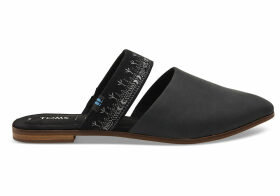 TOMS Black Leather With Embroidered Strap Women's Jutti Mules Shoes - Size UK3