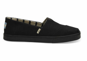 TOMS Black On Black Heritage Canvas Women's Cupsole Alpargatas Venice Collection Shoes - Size UK3.5
