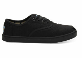 TOMS Black On Black Heritage Canvas Women's Cupsole Cordones Sneakers Venice Collection Shoes - Size UK3