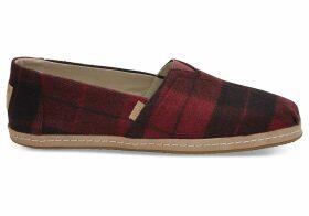 TOMS Red Plaid Felt Women's Classics Slip-On Shoes - Size UK6.5