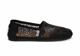 TOMS Black Moroccan Crochet Women's Classics Slip-On Shoes - Size UK4.5
