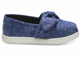 Imperial Blue Dot Chambray Bow Tiny TOMS Classics Slip-On Shoes - Size UK8