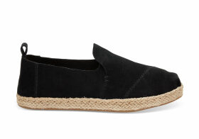 TOMS Black Suede Women's Deconstructed Alpargatas Shoes - Size UK3.5