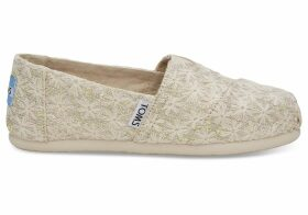 TOMS Tan Daisy Metallic Youth Classics Slip-On Shoes - Size UK2.5