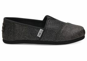 TOMS Black Iridescent Glimmer Youth Classics Slip-On Shoes - Size UK1.5