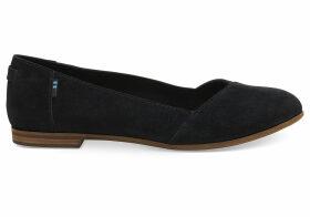 TOMS Black Suede Women's Julie Flats Shoes - Size UK6
