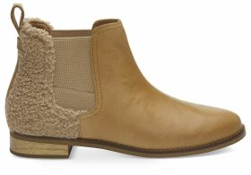 TOMS Honey Leather Faux Shearling Women's Ella Ankle Boots - Size UK7.5