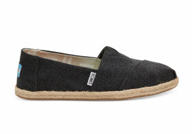 TOMS Black Washed Canvas Women's Espadrilles Shoes - Size UK3