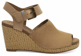 TOMS Honey Suede And Leather Women's Tropez Wedges - Size UK10