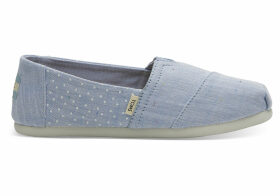 TOMS Light Bliss Blue Speckled Chambray Dots Youth Classics Slip-On Shoes - Size UK13