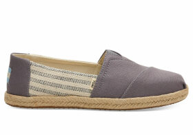 TOMS Drizzle Grey Ivy League Stripes Women's Espadrilles Shoes - Size UK5