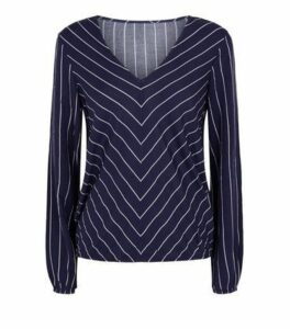 Apricot Navy Stripe Chiffon Top New Look