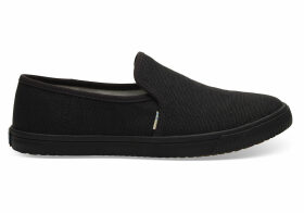 TOMS Black Heritage Canvas Women's Clemente Slip-Ons Topanga Collection Shoes - Size UK8