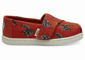 Red Bikes Print Tiny TOMS Classics Slip-On Shoes - Size UK9