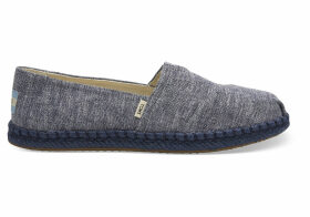 TOMS Navy Slub Chambray Women's Espadrilles Shoes - Size UK4