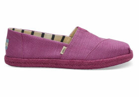 TOMS Red Plum Canvas Women's Espadrilles Shoes - Size UK9
