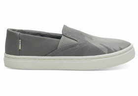 TOMS Grey Canvas Glow In The Dark Youth Luca Slip-Ons Shoes - Size UK13.5