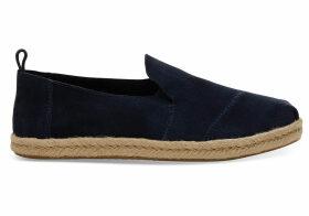 TOMS Navy Suede Women's Deconstructed Alpargatas Shoes - Size UK9